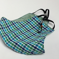 Large reusable double layered, washable and adjustable checked face mask