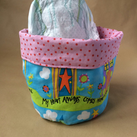 Large fabric storage basket for cosmetics, small toys etc