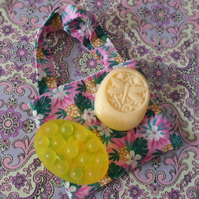 Set Of Two Lemon And Orange Aromatherapy Soaps With Lined Cotton Bag