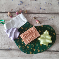 Handmade Natural Soaps Set Of Three With Lined Cotton Christmas Stocking Bag