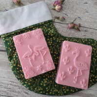 Handmade Natural Soaps Set Of Two With Lined Cotton Christmas Stocking Bag