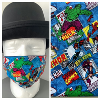 Marvel face mask, face covering, pleated cotton fabric, washable, reusable
