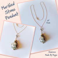 Marbled Stone Pendant Necklace