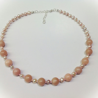 Pink Opal & Cultured Pearl Necklace