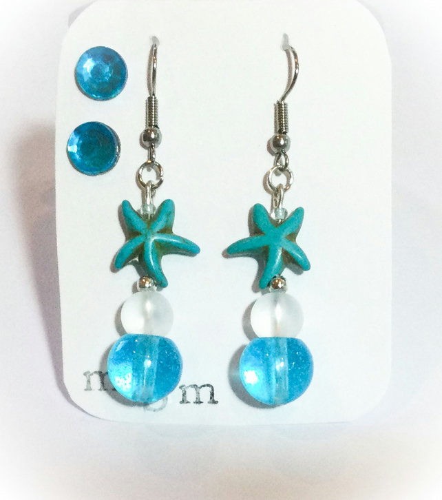 Turquoise Starfish Drop Earrings & Matching Studs