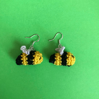 Crochet bee earrings