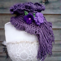 crochet scarf elegant look with flower clips