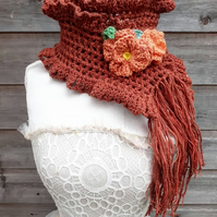 crochet wrap scarf with flower clips