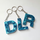 Blue resin letter keyring