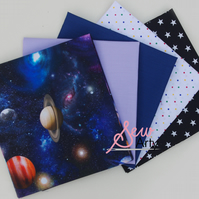 Space Motifs Stars 5 Fat Quarter Cotton Fabric Bundle