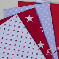 Strawberry Stars Fat Quarter Five Piece Fabric Bundle plus Tutorial Instructions