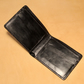 Handmade Bifold leather wallet Black pull up goat leather
