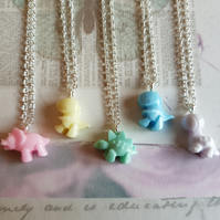 Pastel coloured cute mini resin dinosaur charm pendant necklace jewellery gift