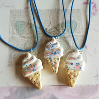 Resin Ice cream pendant blue cord necklace cute kawaii glitter