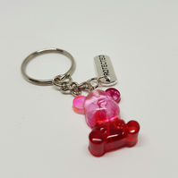 Resin mini pink red teddy bear keyring cute kawaii gift accessory