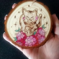 Chinese lucky cat Pyrographied wood slice