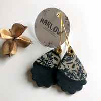 Luna Collection - Black Cream Polymer Clay Earrings with a Delicate Pattern