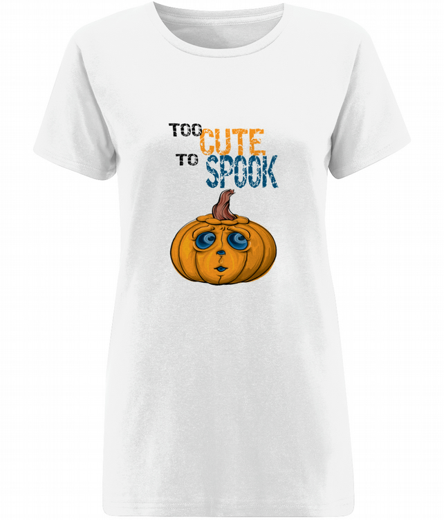 Halloween top, short sleeved ladies top, pumpkin top, too cute to spook top