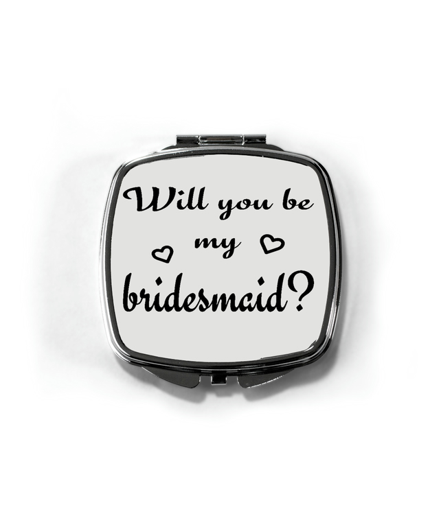 will you be my bridesmaid gift? compact mirror, personalised, gift for her