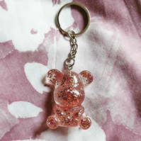 Rose gold glitter teddy bear keyring