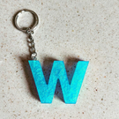 Metallic letter resin keyring