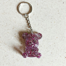 Pink glitter teddy bear resin keyring