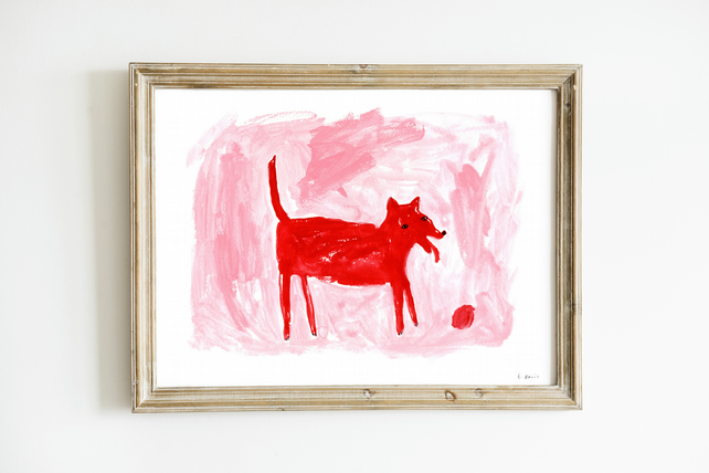 Pink Red Dog and Ball Giclee Art Print - Pink Dog Print, Unique Print, Pink Art
