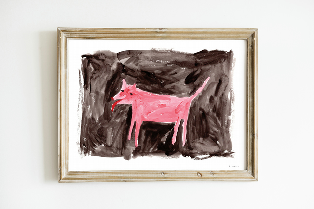 Pink Dog at Night Giclee Art Print - Pink Dog  Art, Pink Home Decor, Unique Art