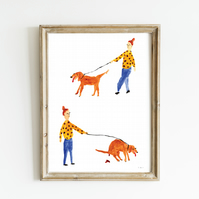Dog Walk Giclee Art Print - Funny Dog Print, Funny Dog Art, Dog Painting