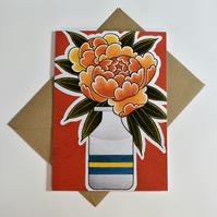 Eco-Friendly Orange Peony Greetings Card - Blank