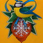 Christmas Blue Tit and Bauble Original Painting