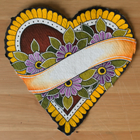 Original Heart Shaped Painting with Purple Flowers