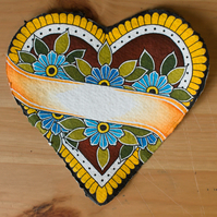 Original Heart Shaped Painting with Blue Flowers