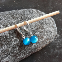 Silver and blue cat eye stone earrings