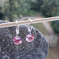 Sterling silver and swarovsky light pink leverback earrings