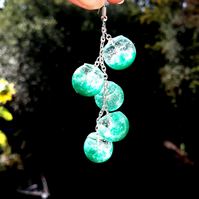 Turquoise set of necklase and earrings made with resin and sterling silver
