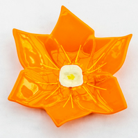 Orange flower glass bowl