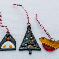 Glass Christmas Tree, Robin and Penguin - set of 3