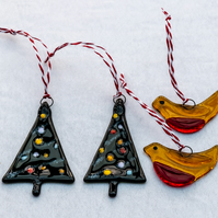 Glass Christmas Trees and Robins - set of 4