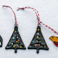 Glass Christmas Trees, Robin and Penguin - set of 4