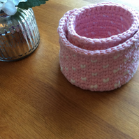 Set of 2 pink & white crochet baskets