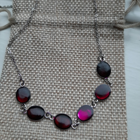 Unique  Purple (oval)  necklace  with chain