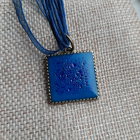 Unique Blue Square crackled  resin pendent with a ribbon necklace