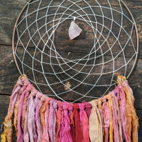 Rose Quartz Dream Catcher - Medium