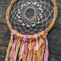 Rose Quartz Crystal Chip Dream Catcher - Medium