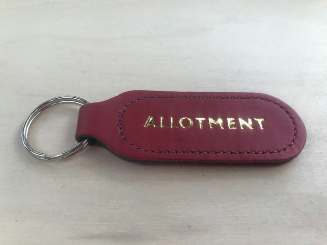 """The Stockwood"" Allotment Dark Red Vegan (PU) Leather Key Fob"