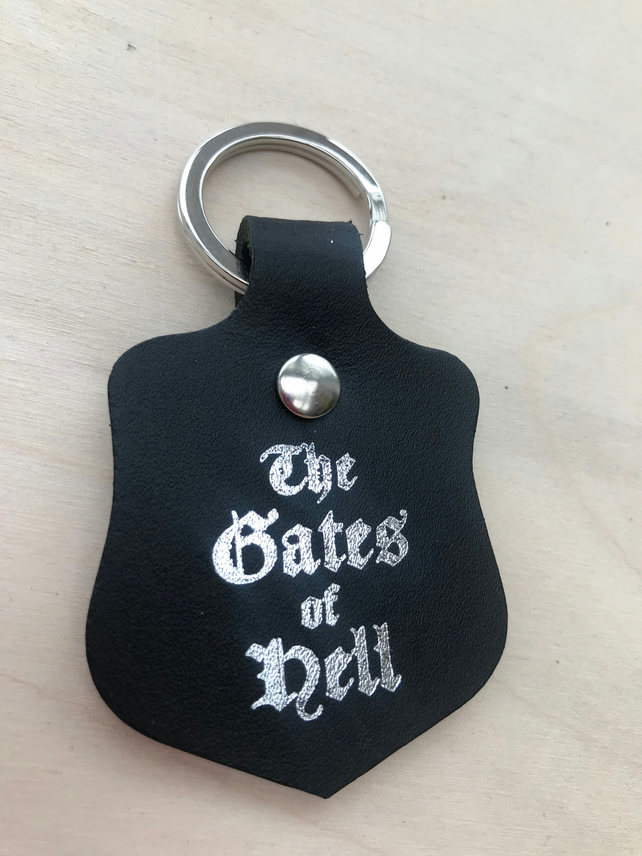 """Gates of Hell"" Leather Keyfob"