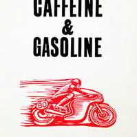 Caffeine and Gasoline Letterpress and Lino-Cut print
