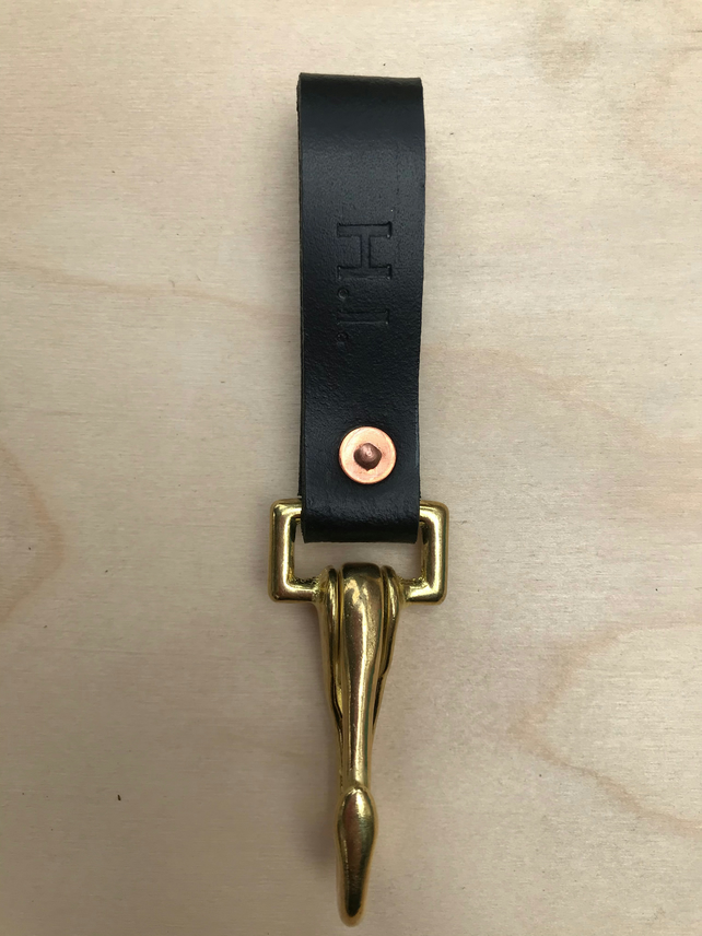 """The Hightown"" Leather Key Strap in Black"