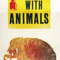"""""""I Grew Up With Animals"""" Letterpress & Lino-Cut Poster."""